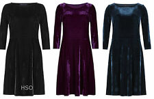 EX M&S Marks and Spencer Velvet Skater Dress Cocktail Party Black Purple Blue
