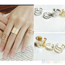Korean Womens 3Pcs Top Of Finger Over The Midi Tip Above The Knuckle Open Ring