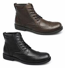 Front BAKER Mens Leather Wingtip Brogue Lace Up Padded Smart Ankle Derby Boots