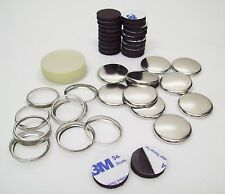 """1"""" Complete Rubber Magnet Button Parts - Magnets have 3M Peel & Stick Adhesive"""