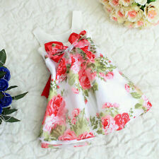 Baby Girls Kids Wedding Party Dresses Floral Formal Xmas One-pieces Bow Dress