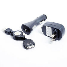 3-in-1 CAR DC HOME WALL TRAVEL AC CHARGER RETRACTABLE USB CABLE LOT FOR IPHONE 4