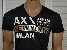 Armani Exchange Metallic Logo V neck T Shirt Black NWT