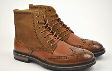 La Milano Men's Tan Leather Wing Tip With Suede Dress Boots Style #B5900