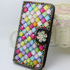 For LG Luxury diamonds Crystal flower PU leather wallet flip cover case
