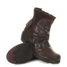 Womens Fly London Mel Dark Brown Leather Western Ankle Boots Ladies Uk Size