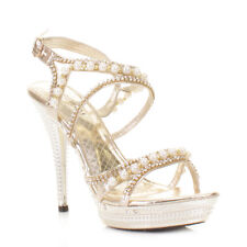 Womens Ladies Gold Pearl Platform Strappy Diamante Party Wedding Shoes Uk Size