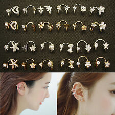 Gorgeous Lady Heart Bow Rivet Star Butterfly Flower Ear Cuff Warp Clip Ear Stud