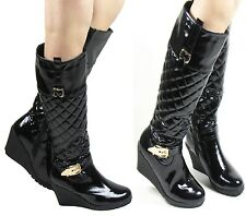NEW LADIES PATENT BLACK QUILTED WEDGE KNEE HIGH GOLD BUCKLE BOOT SIZE 3 - 8