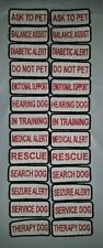 """TWO Small Sew-On Embroidered Patches - SERVICE DOG  ASSORTED - 1 1/4 x 3"""""""