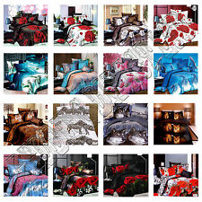 3D Effect Duvet Covers With Fitted Sheet Modern 4Pcs Quilt Complete Bedding Sets