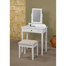 3 Piece Vanity Set with Mirror Table Stool Makeup Bedroom White Furniture Wood
