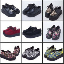 HARAJUKU style women's shoes vintage lace up flower print creepers flats shoes##