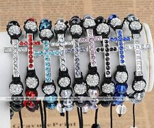 1x Crystal Disco Ball Bead Faceted Beads Cross Weave Macrame Bracelet Adjustable