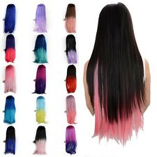 Women Multi Color Straight Long Ombre Hair Clip in Hair Extensions Hair Pieces