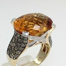 LeVian Citrine Chocolate Clear Diamond Large 14K Yellow Gold Cocktail Ring