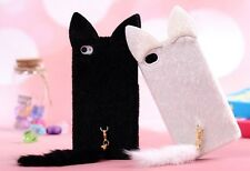 Lovely Cat Ear and Tail Plush Silicone Case Cover Skin for iPhone 4 4S