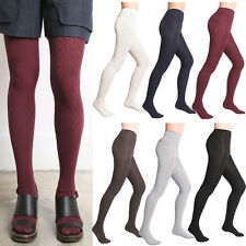 Women Winter Thick Warm Twist Cable Knit Sweater Footed Cotton Full Foot Tights