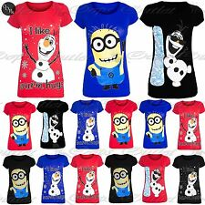CLEARANCE SALE Womens Ladies Novelty Christmas Xmas Olaf Frozen Minion T Shirt