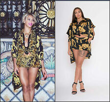 BLACK BLUE GOLD TIGER 3 2 PIECE BEYONCE BAROQUE PLAY SUIT SHORTS TOP 8 10 12 14