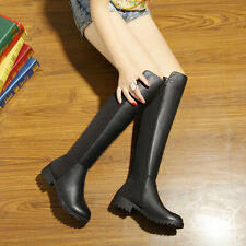 Sexy Women's Elegant Cow Leather Side Zipper Cuban Over The Knee Riding Boots