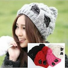 Women Winter Knitted Hat Beanie with Pom Sequin Bow (Pink, Red, Beige, Black)
