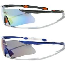 X-LOOP NEW MENS LADIES BLACK WRAP SPORTS SEMI RIMLESS MIRRORED UV400 SUNGLASSES