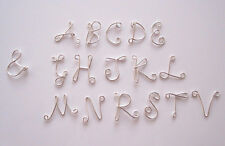 925 Sterling silver wire Initial Letter charm A-Z personalized necklace