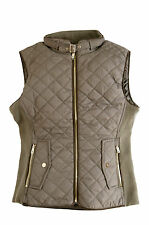 JUNIOR Women's Quilted Zip-Front Warm Padded Vest White/Khaki SIze S,M,L