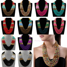 Fashion Jewelry 30 Layers Resin Seed Beads Choker Pendant Statement Bib Necklace