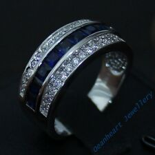 Size 8-12 Classic Jewelry Mens AAA Sapphire 10KT White Gold Filled Band Gem Ring