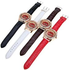 Ladies Fashion Watch - Lipstick Diamonte Face Fashion Watch  - Brand New !
