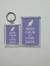 Keep Calm And Love Cats Keyring or Fridge Magnet = ideal gift idea