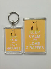 Keep Calm And Love Giraffes Keyring or Fridge Magnet = ideal gift idea