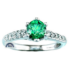 1.33CT Round CUT NATURAL GREEN WHITE DIAMOND RING 18K/14K GOLD ENGAGEMENT EW EHS