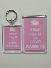 Keep Calm And Love Rabbits Keyring or Fridge Magnet = ideal gift idea