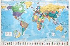 POLITICAL MAP OF THE WORLD POSTER EDUCATIONAL WALL STUDY DECOR ART PRINT SCHOOL