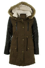 Ladies Womens Hooded Parka Quilted Pu Sleeve Faux Fur Trim Winter Jacket Coat 8