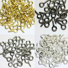 200 pcs Silver Plated Screw Eye Pin Peg Tail Jewelry Making Findings Craft 8mm