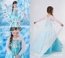 Girls Dress Queen Elsa Frozen Costume Princess Anna Party Fancy Dress USA Seller