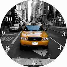 Decorative Novelty RETRO YELLOW NEW YORK TAXI CAB Design Quartz Wall Clock