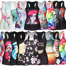 Womens 3D Blouse Gothic Club Wear Bodycon Vest Camisole Tee Shirt Tops T-shirts