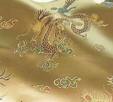 Super Chinese Faux Silk Brocade Fabric Dragon And Phoenix Off Gold BR-406