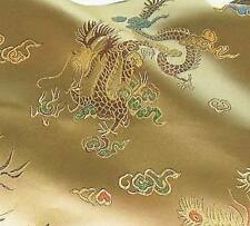Super Chinese Brocade Fabric Dragon Phoenix Off Gold BR-406+Free Clear Button
