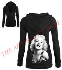 Junior's Marilyn Monroe Classic Sexy Black Thermal Zipper Hoodie Cali Sweater