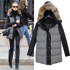 Womens Tartan Quilted Ski Jacket Fleece Overcoat Hoodie Trench Parka Fur Puffer