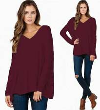 Piko Bamboo Burgundy Wine Ox Blood Long Dolman Sleeve V Neck Loose Tunic Top NWT