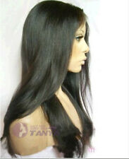 """20"""" Silky Straight #1b 100% Indian Remy Human Hair Full Lace Wig"""