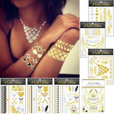 Nice Jewel Inspired Metallic Temporary Tattoos Stickers Flash Tattoo Gold Silver