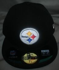 PITTSBURGH STEELERS AUTHENTIC ON-FIELD 59FIFTY FITTED HAT / CAP BY NEW ERA BLACK